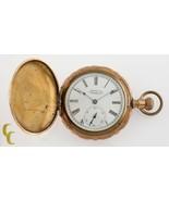 Gold Filled Antique Waltham Full Hunter Pocket Watch Grade J 6S 7-Jewel ... - $371.24