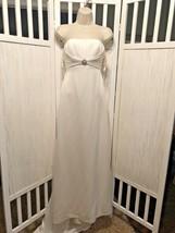David's Bridal Wedding Gown Sz 2 Ivory Strapless Satin Sheath Train Stun... - $53.90