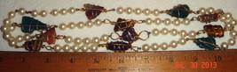 "VTG RARE ART DECO GOLD FILLED WRAPT GEMSTONE FAUX PEARL 40"" MOD FLAPPER ... - $197.99"