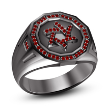Black Gold Over 925 Silver Round Cut Red Garnet Jewish David Star Ring For Men's - $107.99