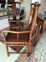 Baker Mid Century Hollywood Chinoiserie Walnut  Dining Room Table + 6 Chairs image 7