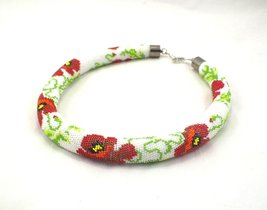 Beaded rope necklace with red poppy flowery print, bead crochet necklace... - $138.70
