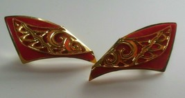 Vintage Signed Berebi Gold-tone & Red Enamel Earrings - $23.50