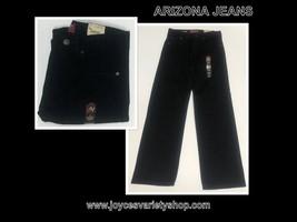 Arizona Relaxed Fit Black Jeans Sz 14R Straight Leg Adj Waist Sits Below... - $15.99