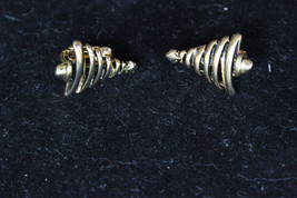 Vintage Gold Tone Christmas Tree Clip On Earrings Size: 2cm x 1.5 cm - $11.87