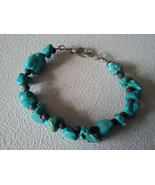 """HANDMADE SILVER PLATED TURQUOISE DYED HOWELITE AND LAVA BRACELET 7 3/4"""" - $4.89"""