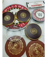 Williamette University Glass Paperweight Booth Society & Coasters brass ... - $19.79