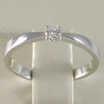 White Gold Ring 750 18k, Solitaire, squared stem, Diamond, Carats 0.10 image 2