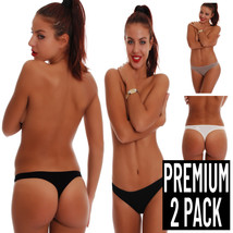 TIARA GALIANO 2-Pack Classic Elegant Cotton Panties Thong style 1455UK K... - $15.09