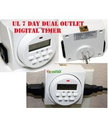 7 Day Dual Outlet Switch Digital Electric Light On Off Timer 15A 1725W U... - $13.49