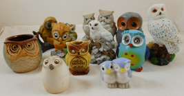 Set of 11 Owls Small Figurine Lot Ceramic and Resin - $29.69