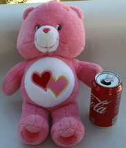 "Care Bears 2002 Love A Lot Bear Plush Stuffed Animal Pink Hearts 13"" TCF... - $14.84"