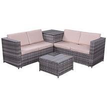 Hulaloveshop 4 pcs Rattan Wicker Furniture Set with Storage Box - $753.34