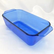 "Pyrex 213-R Cobalt Blue Loaf Pan 1.5qt Baking Dish 8.5""x4.5""x2.5"" - $14.95"