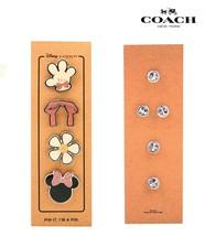 Nwt Coach Disney Minnie Mouse Cute Pin Set Of 4 Silver Hardware Glitter Hot - $42.57