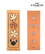 NWT COACH DISNEY Minnie Mouse Cute Pin Set of 4 Silver Hardware Glitter Hot - $42.57