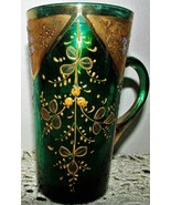 Antique Delicate Green Moser Glass Taster Cup Gold Blue Enamel - Applied... - $44.55