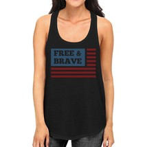 Free & Brave Us Flag Womens Black Funny Graphic Tanks Crewneck Line - $14.99