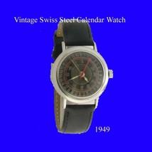 Vintage Mint S/S Swiss Calendar 17 Jewel Lever Retro Mens Wrist Watch 1949 - $338.76