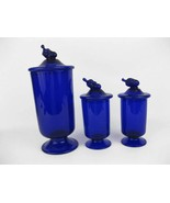 Cobalt Blue Glass Canisters Apothecary Jars With Unique Lids (3) - $120.00