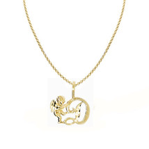 14k Yellow Gold Cherub and Cursive Initial Letter 'D' Pendant 1.2mm Rolo... - $201.00+