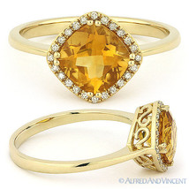 1.40ct Cushion Cut Citrine & Round Diamond Halo Engagement Ring 14k Yell... - €366,04 EUR
