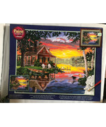 Dimensions Paint Works Paint By Number Kit. 20x16. Sunset Cabin 91315 St... - $14.49