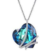 """""""Heart of the Ocean"""" 925 Sterling Silver Heart Pendant Necklace made wit - $79.86"""