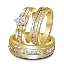 14K Yellow Gold Plated 925 Sterling Silver Gents & Ladies Diamond Trio Ring Set - $127.27