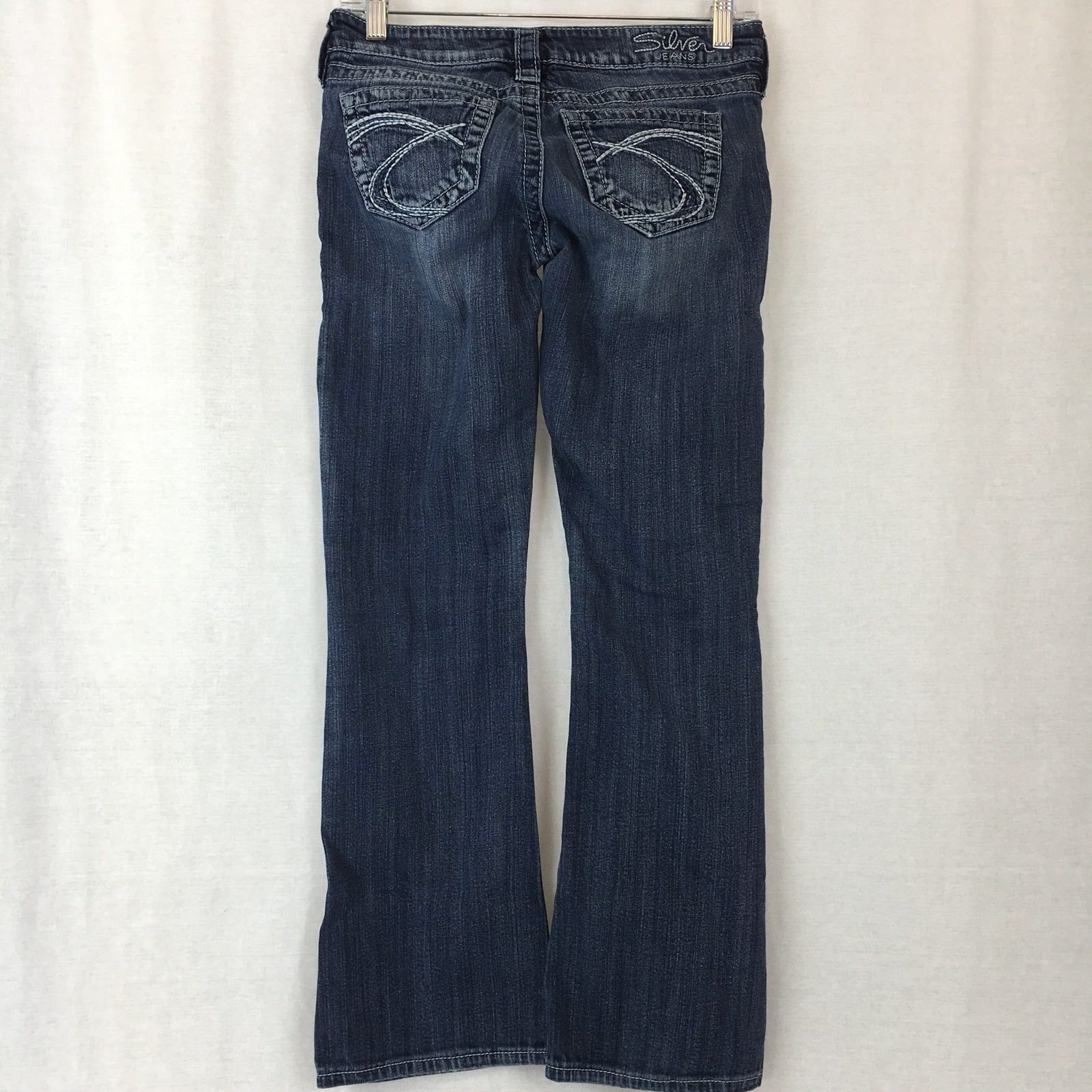 Silver Jeans Tuesday Bootcut Stretch Distressed Thick Stitch Medium Wash Size 25