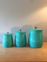 Vintage 50s CAL-DAK Turquoise 3 Canister Set