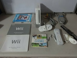FULLY TESTED Original White Wii Console System + 3 Controllers Cables & Game 35 - $77.84