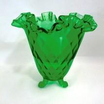 Fenton Art Glass Diamond Optic Thread Green Footed Ruffled Vase Candy Bo... - $29.69
