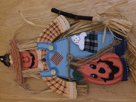 "NEW Halloween Scarecrow with jack-o-lantern wooden plaque 11-1/2"" x 7"" h... - €8,45 EUR"