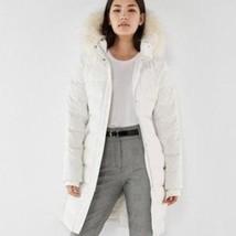 NEWt EXPRESS $228  LONG DOWN FILLED Smocked  PUFFER COAT  Medium White - $176.40