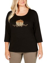 Karen Scott Tee Shirt NEW 0X Plus Pumpkin Jewels Halloween Cinderella LL76 - $19.73