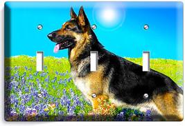 Adult German Shepherd Dog Flower Field Light Triple Switch Wall Cover Room Decor - $16.17