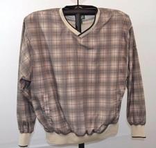 CABELA'S Golf L Beige Plaid V Neck Polyester Pullover Lined Jacket Mens - $27.99