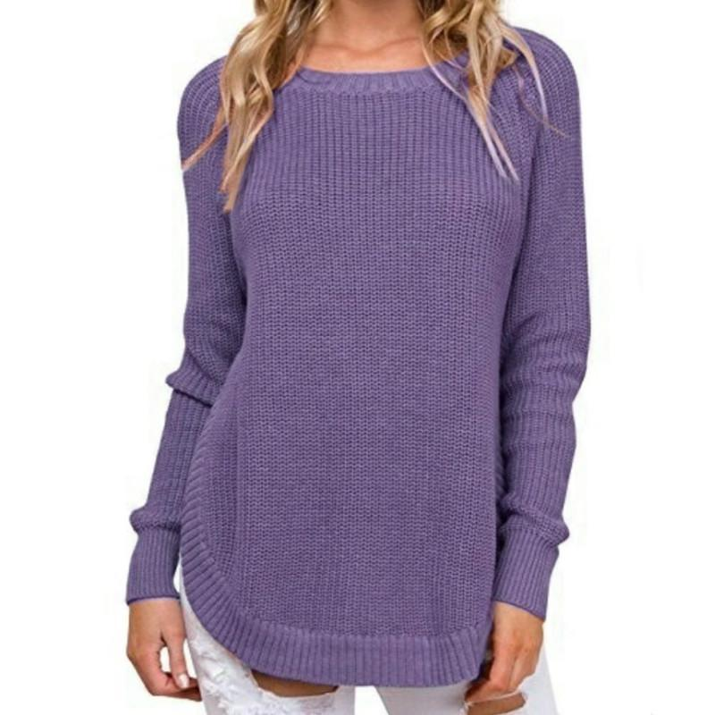 Primary image for Autumn Warm Irregular Women Side Split Sweaters O-neck Knitted Jumper Pullovers