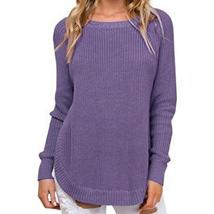 Autumn Warm Irregular Women Side Split Sweaters O-neck Knitted Jumper Pu... - $37.65+