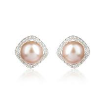 CZ Pink Pearl Gemstone White Rhodium Women's 925 Silver Earrings Jewelry - $21.78