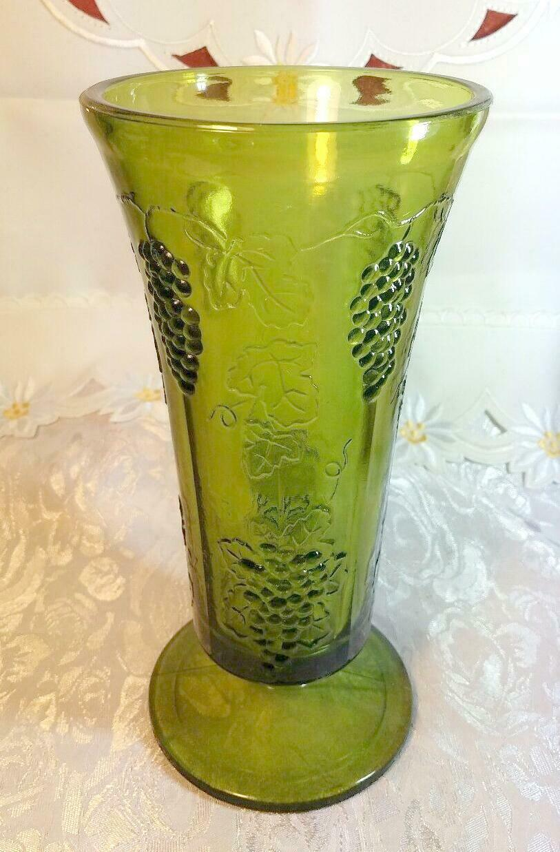 "Indiana Glass Colony Grapes & Leaves Avocado Green Vase 9 5/8"" tall"