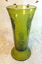 "Indiana Glass Colony Grapes & Leaves Avocado Green Vase 9 5/8"" tall image 1"