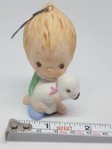 Vintage Hallmark 1985 Fine Porcelain Figurine Small Boy with Lamb Sheep used - $16.71