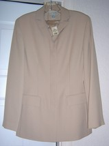 ANN TAYLOR Collection Jacket Coat 1990'S Beige Polyester Size 6 VINTAGE NEW - $29.95