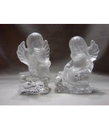 Charming Vintage Set of Two Goebel Frosted Crystal Holiday Angels  - $40.00