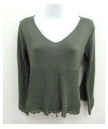 Copper Key Womens Large Sweater Blouse Knit Olive Green 3/4 Sleeve V-Nec... - $12.99