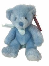 "Russ Berrie Teddy Bear Rory Blue 8"" Plush Rattle B178 - $23.80"