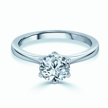 925 Sterling Silver 1.00 Carat Round Cut Diamond Solitaire Engagement Ring - $40.96