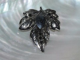 Estate BEST Signed Large Silvertone Maple Leaf w Black Rhinestone Accents & - $9.49